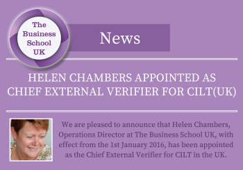Helen Chambers Appointment as Chief External Verifier for CILTUK